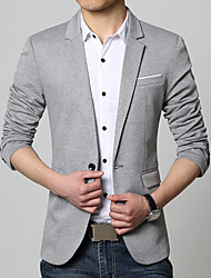 Men's Casual/Daily Work Simple Spring Fall BlazerSolid V Neck Long Sleeve Regular Cotton Acrylic 916642