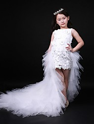 Ball Gown Asymmetrical Flower Girl Dress - Organza Jewel with Beading Appliques Crystal Detailing Cascading Ruffles