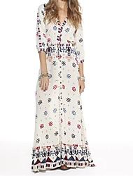 Feminino Solto Reto Vestido,Para Noite Casual Simples Moda de Rua Estampado Decote V Longo Manga ¾ Algodão Verão Outono Cintura Média