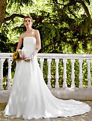 LAN TING BRIDE Trapèze Robe de mariée - Elégant & Luxueux Dos ouvert Traîne Chapelle Sans Bretelles Satin Tulle avecPerlage Bouton Fleur