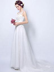 Linha A Vestido de casamento Inspiração Vintage Cauda Escova Decorado com Bijuteria Renda Tule com Renda