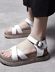 Women's Sandals Spring Comfort PU Casual Brown Black White