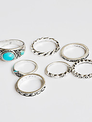 Ring Midi Rings Turquoise Basic Unique Design Turkish Handmade Bohemian Classic DIY Chrome Turquoise Flower Silver Jewelry ForWedding