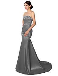 Serata formale Vestito A sirena A cuore Strascico di corte Raso con Perline