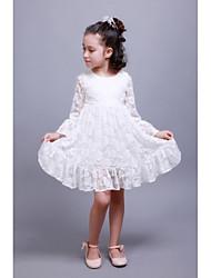 Sheath / Column Knee-length Flower Girl Dress - Lace Satin Long Sleeve Jewel with Lace Pleats