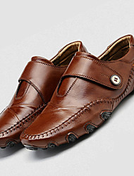 Men's Loafers & Slip-Ons Summer Fall Comfort Light Soles Leather Outdoor Casual Flat Heel Hook & Loop Brown Black