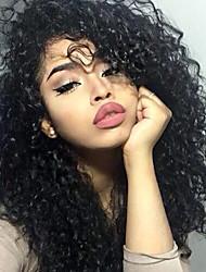 180% de dentelle de dentelle avant perruques de cheveux humains kinky bouclés pour femmes noires cheveux remy bouclés et bouclés