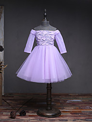 BONJEAN A-line Knee-length Flower Girl Dress - Organza Off-the-shoulder with Lace