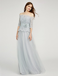LAN TING BRIDE Floor-length Bateau Bridesmaid Dress - Two Pieces Half Sleeve Chiffon Lace