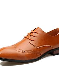 Oxfords-Læder-Formelle sko-Herrer-Sort Brun-Bryllup Kontor Fest/aften-Flad hæl
