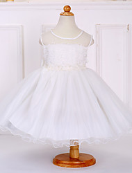 Ball Gown Knee-length Flower Girl Dress - Satin Tulle Polyester Sleeveless Jewel with Bow(s) Lace Sash / Ribbon