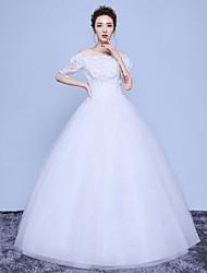 A-라인 웨딩 드레스 바닥 길이 오프 더 숄더 면 레이스 튤 와 아플리케 레이스 스팽글