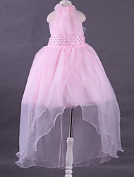 Princess Asymmetrical Flower Girl Dress - Polyester Lace Halter with Beading Draping Flower(s)