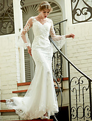 LAN TING BRIDE Trumpet / Mermaid Wedding Dress - Chic & Modern See-Through Court Train V-neck Lace with Appliques Button
