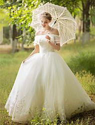 С пышной юбкой Свадебное платье - Элегантность и роскошь Блестки и пайетки В пол Приспущенные плечи Тюль сАппликации