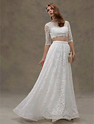 LAN TING BRIDE A-line Wedding Dress - Chic & Modern Two-Piece See-Through Sweep / Brush Train Jewel Lace Velvet Chiffon with Lace