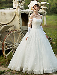 Ball Gown Wedding Dress - Elegant & Luxurious Floral Lace Floor-length Off-the-shoulder Lace with Appliques Beading