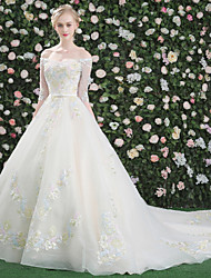 Princess Wedding Dress Cathedral Train Bateau Crepe Lace Tulle Sequined with Lace Pattern Sequin Appliques Crystal Embroidered Flower