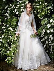 볼 드레스 웨딩 드레스 - 엘레강스&럭셔리 레이스 룩 바닥 길이 V-넥 튤 와 아플리케 비즈 크리스탈 꽃장식