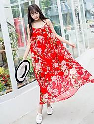 Feminino balanço Vestido,Para Noite Casual Praia Vintage Simples Fofo Floral Com Alças Longo Sem Manga Raiom Todas as Estações Verão