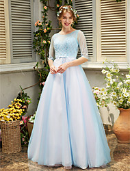 TS Couture ערב רישמי שמלה - שקוף גזרת A עם תכשיטים עד הריצפה טול עם חרוזים פפיון(ים) פרטים מקריסטל סרט