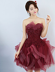 Short / Mini Sweetheart Bridesmaid Dress - Lace-up Sleeveless Tulle
