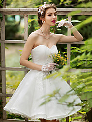 Princess Wedding Dress - Chic & Modern Little White Dress Knee-length Sweetheart Lace withAppliques Beading Crystal