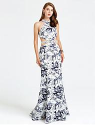 TS Couture 포멀 이브닝 드레스 - 패턴 드레스 트럼펫 / 머메이드 하이 넥 스윕 / 브러쉬 트레인 새틴 와 비즈 크리스탈 디테일 허리끈/리본