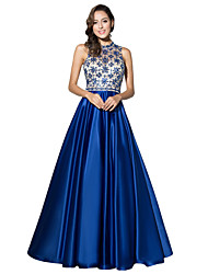 Formal Evening Dress Ball Gown Halter Floor-length Satin with Beading