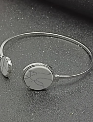 Women's Cuff Bracelet Fashion Alloy Circle Silver Black White Jewelry For Party Birthday Valentine 1 pc