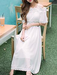 Uma-Peça/Vestidos Lolita Clássica e Tradicional Inspiração Vintage Elegant Princesa Cosplay Vestidos Lolita BrancoCor Única Rendas