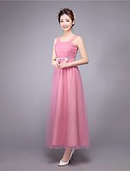 Ankle-length Straps Bridesmaid Dress - Elegant Sleeveless Satin Tulle