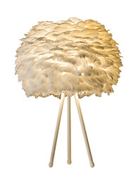 Table Lamp Modern/Contemporary 1 Light E26 E27 Feather Shade with Painting Metal Use On/Off Switch Black White Rod