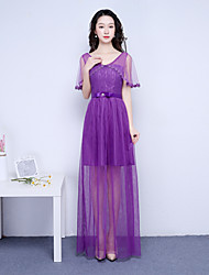 Ankle-length V-neck Bridesmaid Dress - Elegant Short Sleeve Satin Tulle