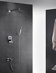 Contemporâneo Arte Deco/Retro Moderno Montagem de Parede Chuveiro Tipo Chuva Chuveiro de Mão Incluído Torneira Destacável with  Vãlvula