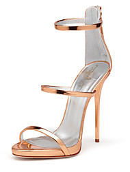Women's Sandals With Heel 2017 Rose Gold Shiny Patent High Heel Shoes Sxey Strappy Sandals Ladies Gladiator Heels Stilettos Plus Size