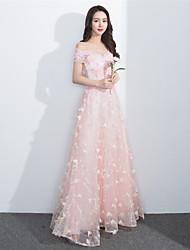 포멀 이브닝 드레스 - 레이스-업 A-라인 보트넥 바닥 길이 레이스 와 비즈