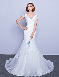 בתולת ים \ חצוצרה שמלת חתונה שובל סוויפ \ בראש צווארון וי טול עם תחרה