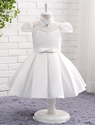 A-line Knee-length Flower Girl Dress - Lace Satin Chiffon High Neck with Bow(s) Lace Pleats