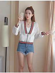 Women's Going out Simple Summer Trench Coat,Solid Stand Long Sleeve Short Others