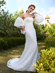 A-line Wedding Dress - Chic & Modern Open Back Court Train Strapless Lace with Flower