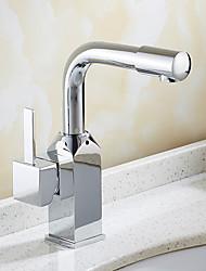 Moderne Art Deco/Retro Centersat Roterbare with  Keramik Ventil Enkelt håndtag Et Hul for  Krom , Håndvasken vandhane