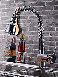 Contemporâneo Arte Deco/Retro Moderno bico padrão Pia Spray Amplo Torneira Destacável Rotativo with  Válvula CerâmicaMonocomando e Uma