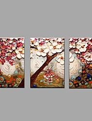 Pintados à mão Floral/Botânico Horizontal,Pastoril Estilo Europeu 3 Painéis Tela Pintura a Óleo For Decoração para casa