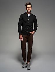Masculino Camisa Social Casual Trabalho Festa/Coquetel Simples Todas as Estações Primavera,Sólido Algodão Colarinho de Camisa Manga Longa