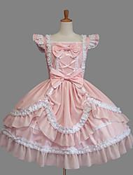Einteilig/Kleid Niedlich Klassische/Traditionelle Lolita Elegant Prinzessin Cosplay Lolita Kleider Modisch Einheitliche Farbe Kappe
