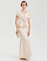 TS Couture Aftenselskab Formel Kjole - Vintage-inspireret Elegant Havfrue V-hals Gulvlang Charmeuse med Bjergkrystal Blonde Kryds & Tværs