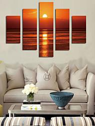 Impresiones de Arte Paisaje Pastoral,Cinco Paneles Horizontal Estampado Decoración de pared For Decoración hogareña
