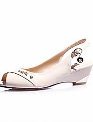 Women's Sandals Spring Comfort PU Casual Beige Black