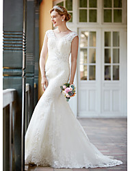 2017 LAN TING BRIDE Trumpet / Mermaid Wedding Dress - Elegant & Luxurious Floral Lace Court Train V-neck Lace withAppliques Beading Button